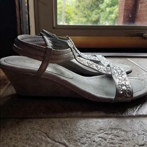 Silver Jeweled Sandal Wedges